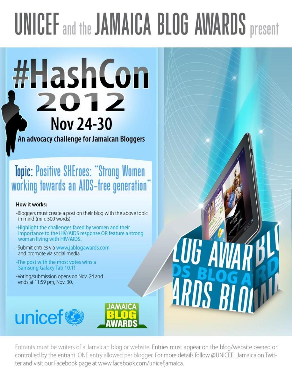 UNICEF JA launches #HashCon2012: An Advocacy Challenge for Jamaican Bloggers
